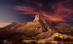Sunset on Guadalupe Mountains