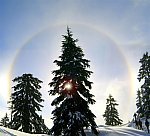 Snowshoeing into a Sun Dog